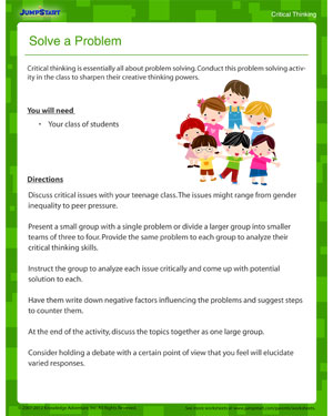 Solve a Problem - free critical thinking worksheet for download