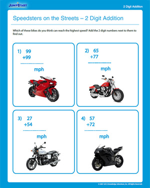 Speedsters on the Streets – 2 Digit Addition - Free 2nd Grade Math Worksheet