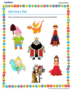 Spinning a Tale - Printable 4th Grade English Worksheet