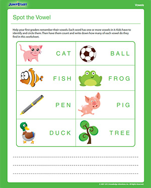Spot the Vowel - Free Printable 1st Grade English Worksheet
