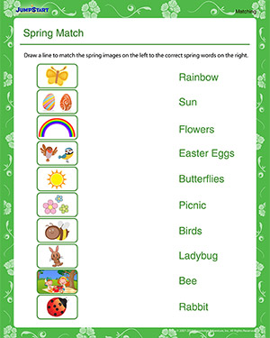 Spring Match – Free Spring Worksheet