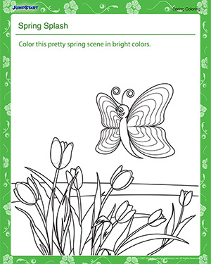 Spring Splash – Spring Coloring Worksheet