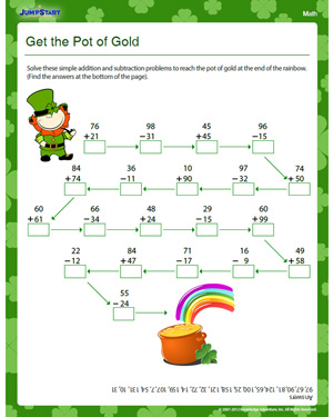 Get the Pot of Gold - Free Math Worksheet for Kids