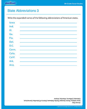 State Abbreviations 3 - Printable Social Studies Worksheet for Fifth Grade