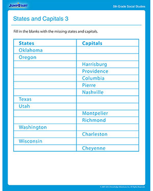 States and Capitals 3 - Free Social Studies Worksheet for Fifth Grade