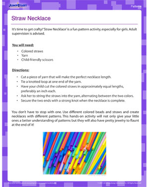 Straw Necklace - Pattern activity for kids