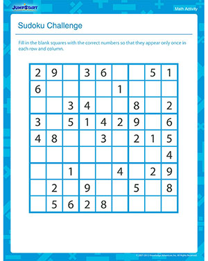 Sudoku Challenge - Free Math Activity for Grade 3
