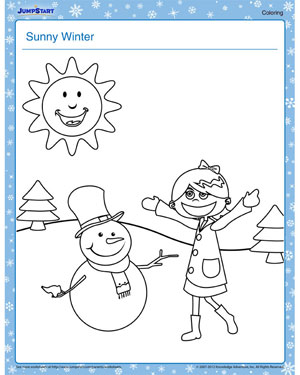 Sunny Winter - Free Winter Coloring Worksheet for Kids