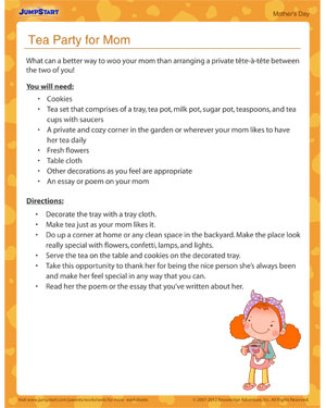 Tea Party for Mom – Kids' activity