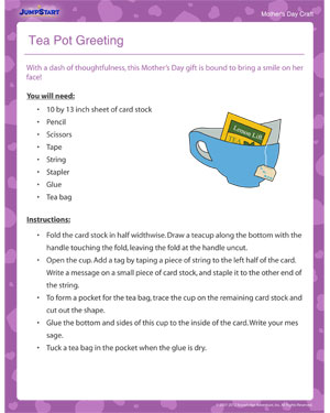Tea Pot Greeting – Mother's Day craft activity for Kids