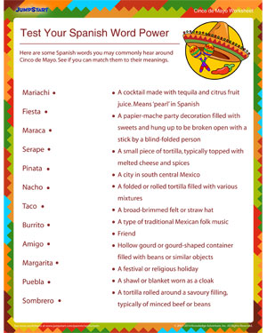 Test Your Spanish Word Power - Free Cinco de Mayo worksheet for Kids