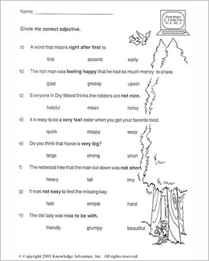 Test Your Word Power - IV - Free Reading Worksheet for Kids