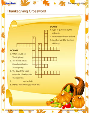 Thanksgiving Crossword - Free Thanksgiving Crossword Puzzle