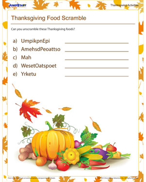 Thanksgiving Food Scramble - Free Thanksgiving Activities for Kids
