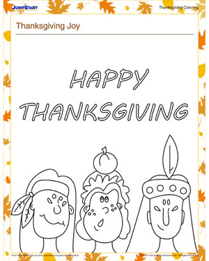 Thanksgiving Joy - Free Holiday Coloring Worksheet for Kids