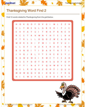 Thanksgiving Word Find 2 - Free Fun Thanksgiving Word Search Puzzle
