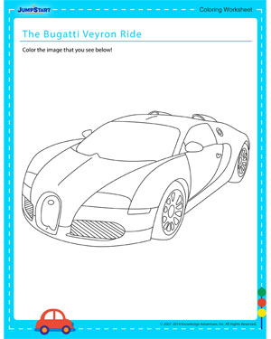 The Bugatti Veyron Ride - Coloring worksheet for kids