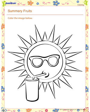 The Hot Sun – Kindergarten Coloring Worksheet