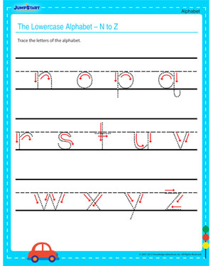 The Lowercase Alphabet - N to Z – Free Alphabet Worksheet for Young Kids