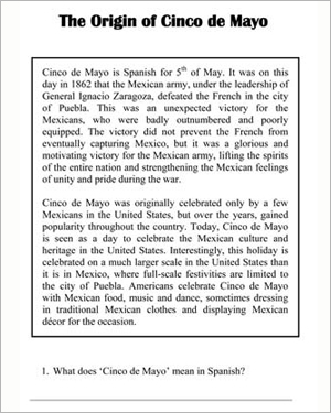 The Origin of Cinco de Mayo - Free Holiday Worksheet for Kids