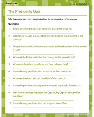 The Presidents Quiz - Fun Social Studies Quiz for 5th Grade