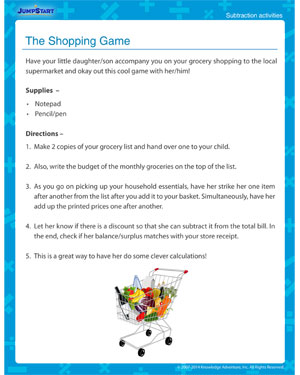 The Shopping Game - Free subtraction activity