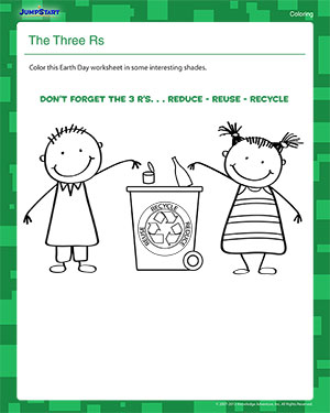 The Three Rs - Free Earth Day Coloring Worksheet for Kids