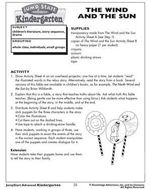 The Wind and the Sun - Free Reading Worksheet for Kids