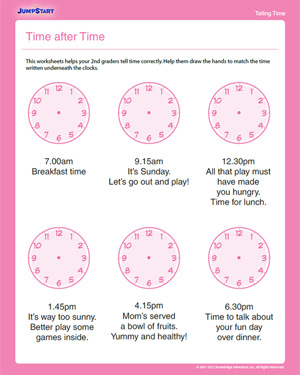 Time after Time - Free Time Worksheet for 2nd Graders