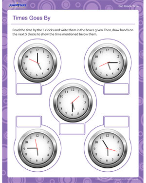 Time Goes By - Printable Math Worksheet for 2nd Grade