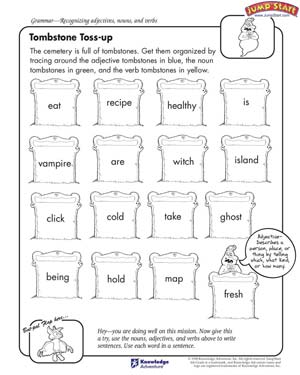 Tombstone Toss-up - Free English Grammar Worksheet for Kids