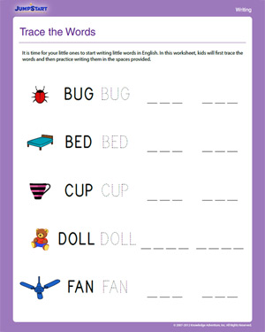 Number Names Worksheets worksheet writing : Trace the Words - Free Writing Worksheet for Kindergarten