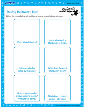 Tracing Halloween Back - Free history worksheet for kids