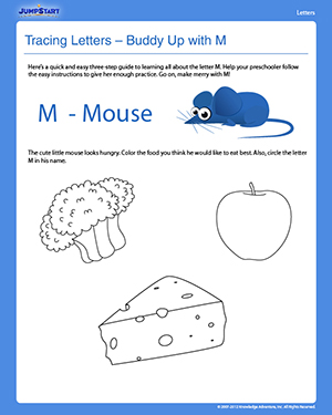 Tracing Letters – Buddy Up with M - Free English Worksheet for Preschoolers