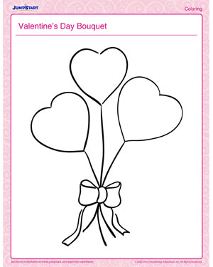 Valentine's Day Bouquet - Free Valentine's Day Coloring Page