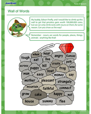 Wall of Words Nouns Worksheet for Kids