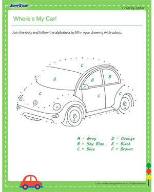 Where's My Car! - dot to dot worksheets for kids