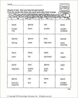 Wild West Nouns: Woolly's Way Home - Free English Worksheet for Kids