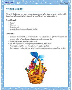 Winter Basket- Free Winter Activity PDF for Kids