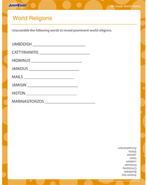 World Religions - Printable World History Worksheet for Fifth Grade