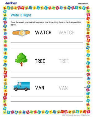Write it Right - Free Vocabulary Worksheet for Kindergarten